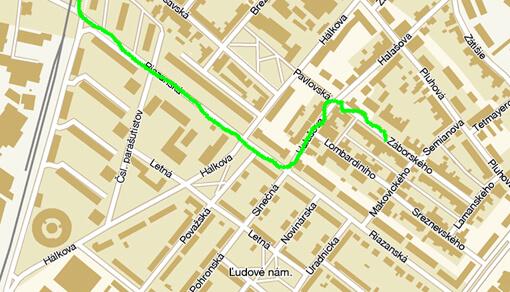 Trasa na mape